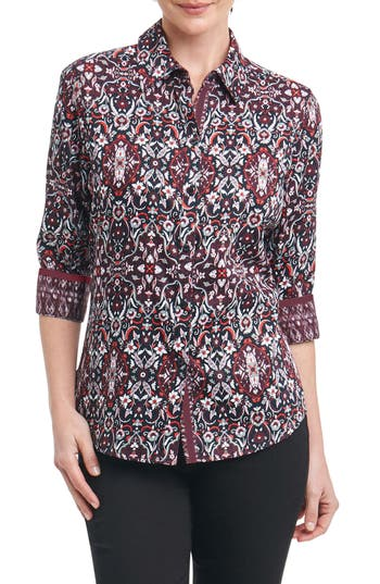 Foxcroft Ava Heirloom Paisley Shirt, Burgundy
