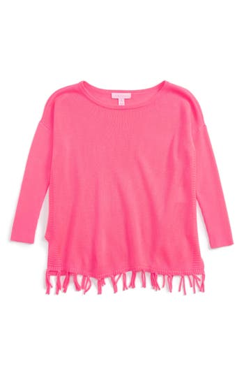 Girl's Lilly Pulizter Mini Ramona Sweater, Size S (4-5) - Coral