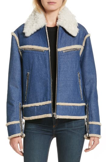 Rag & Bone Andrew Genuine Shearling Trim Denim Jacket, Blue