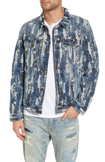 True Religion Brand Jeans Danny Shredded Denim Jacket, Blue