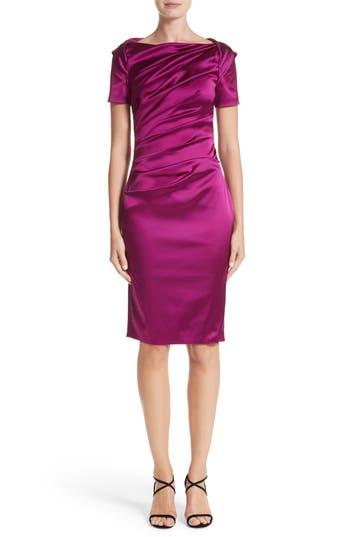 Talbot Runhof Stretch Satin Sheath Dress, Pink