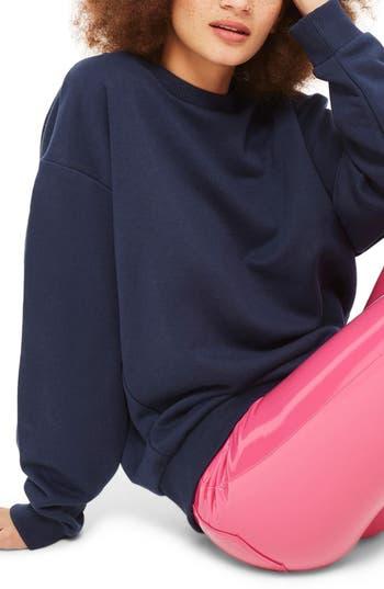 Women's Topshop Sloppy Sweatshirt, Size 2 US (fits like 0) - Blue