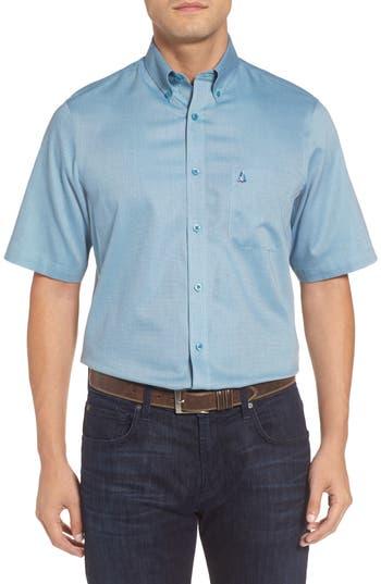Men's Nordstrom Men's Shop 'Classic' Smartcare(TM) Regular Fit Short Sleeve Cotton Sport Shirt, Size Medium - Blue/green