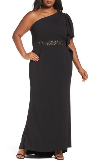 Plus Size Adrianna Papell Crepe One-Shoulder Gown, Black