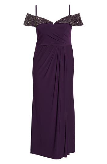 Plus Size Xscape Embellished Off The Shoulder Gown, Purple