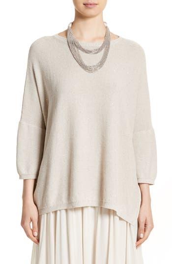 Women's Fabiana Filippi Sequin Knit Dolman Sweater, Size 2 US / 38 IT - Beige