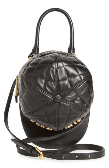 Moschino Quilted Logo Cap Leather Crossbody Bag - Black
