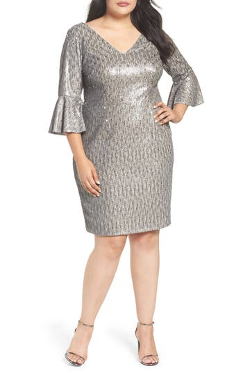 Plus Size Adrianna Papell Bell Sleeve Sequin Sheath Dress, Grey
