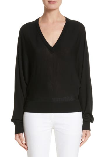 Michael Kors Merino Wool Blend Dolman Sweater, Black