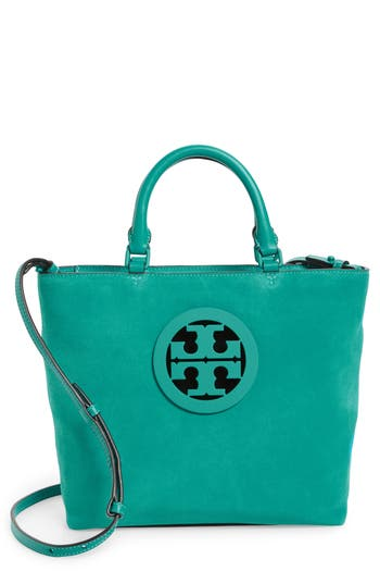 Tory Burch Small Charlie Suede Tote - Green