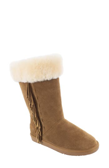 Minnetonka Canyon Genuine Shearling Trim Boot, Brown