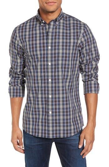 Nordstrom Shop Non-Iron Trim Fit Check Sport Shirt, Grey