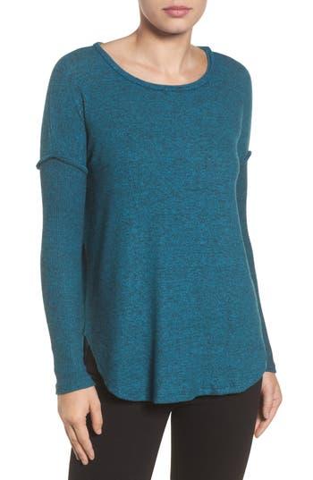 Women's Bobeau Rib Long Sleeve Fuzzy Sweatshirt, Size X-Small - Blue