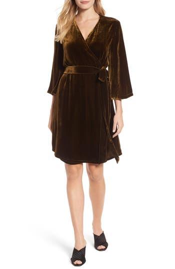 Eileen Fisher Velvet Wrap Dress, Green