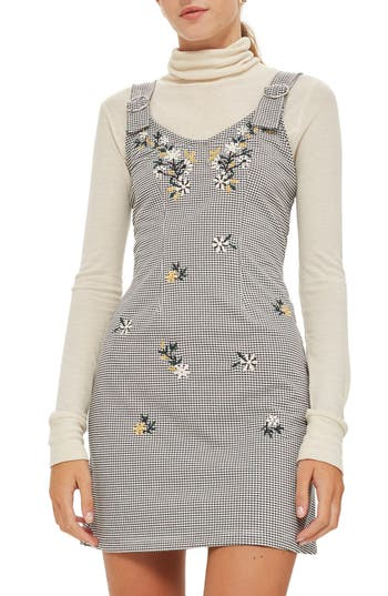 Topshop Embroidered Gingham Pinafore Dress, US (fits like 6-8) - Black
