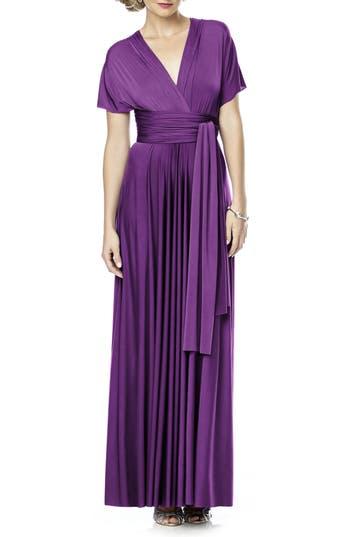 Plus Size Dessy Collection Convertible Wrap Tie Surplice Jersey Gown, Purple