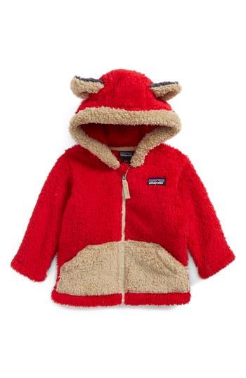 Infant Patagonia Furry Friends Fleece Hoodie, Red