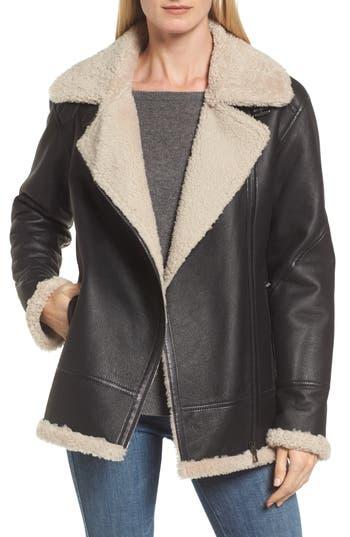 Hiso Genuine Shearling Aviator Jacket, Black