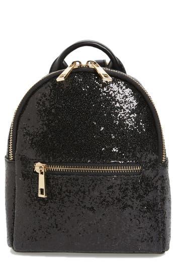Mali + Lili Glitter Vegan Leather Backpack - Black
