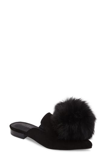 Jeffrey Campbell Claes Genuine Fur Pompom Mule- Black