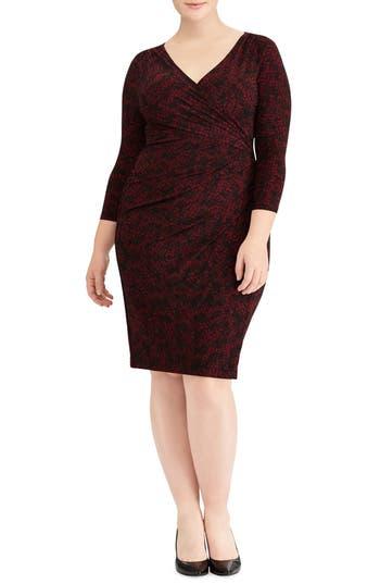 Plus Size Lauren Ralph Lauren Electa Mocoa Abstract Sheath Dress, Red