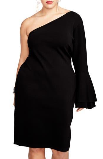Plus Size Rachel Rachel Roy One-Shoulder Knit Sheath Dress, Black