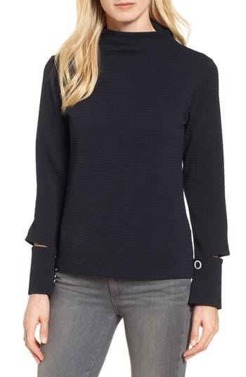 Women's Bobeau Split Cuff Top, Size X-Small - Blue
