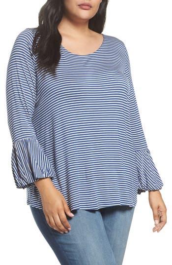 Plus Size Women's Bobeau Ruffle Cuff Stripe Top, Size 1X - Blue