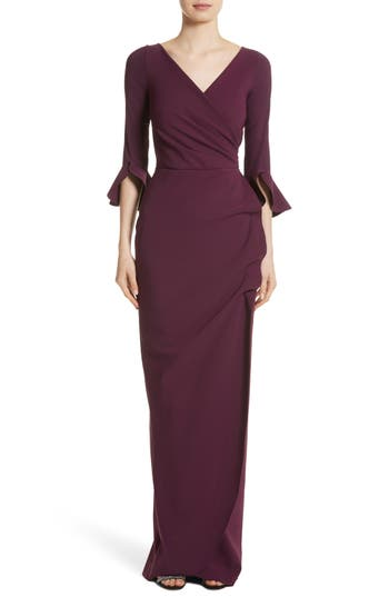 Chiara Boni La Petite Robe Ruffle Cuff Side Drape Gown, Purple