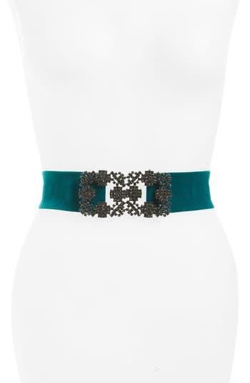 Women's Tasha City Lights Crystal Buckle Velvet Stretch Belt, Size Small/Medium - Dark Teal