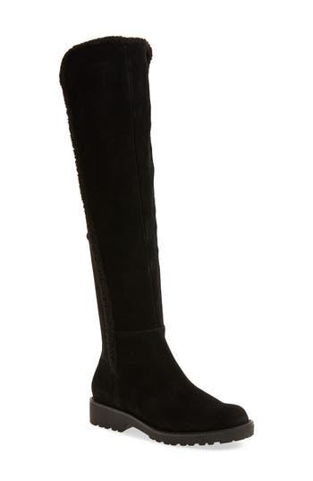 Sole Society Juno Faux Shearling Trim Boot, Black