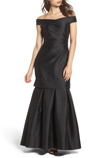 Vince Camuto Off The Shoulder Mikado Mermaid Gown, Black