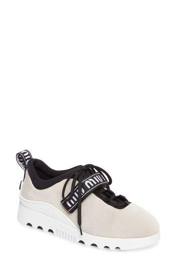 Miu Miu Logo Strap Platform Sneaker, Ivory