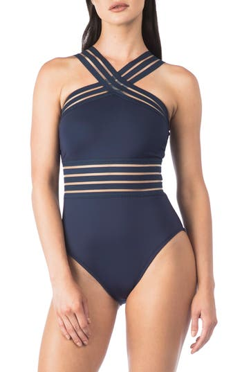 Kenneth Cole New York Stompin In My Stilettos High Neck One-Piece Swimsuit, Blue