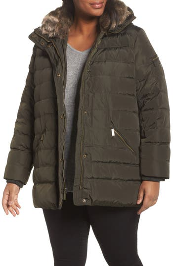 Plus Size Michael Michael Kors Down & Feather Hooded Coat With Faux Fur Trim, Green