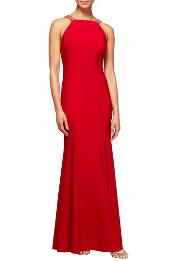 Alex Evenings Embellished Seam Detail Gown, Red