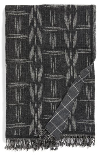 Modern Staples Kasuri Double Face Merino Wool Throw, Size One Size - Black