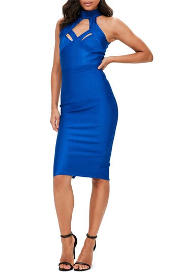 Missguided Cross Front Bandage Dress, US / 4 UK - Blue