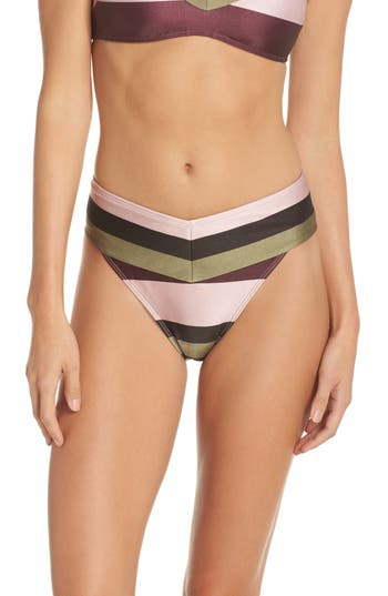 Ted Baker London Imperial Stripe High Waist Bikini Bottoms, Pink