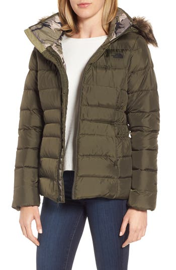 The North Face Gotham Ii Hooded Water Resistant 550-Fill-Power Down Jacket With Faux Fur Trim, Green