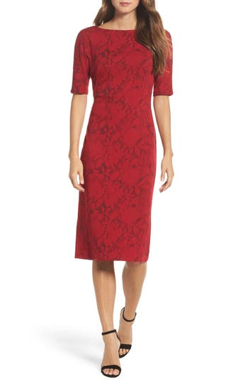 Maggy London Jacquard Pencil Dress, Red