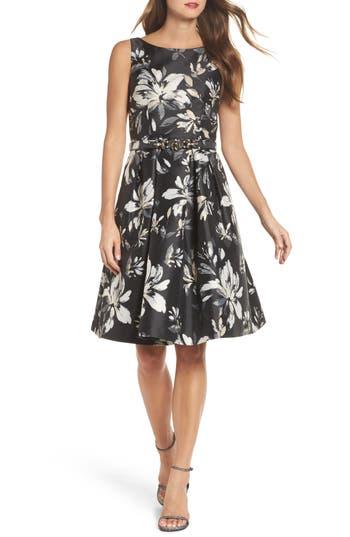 Eliza J Belted Metallic Jacquard Party Dress, Black