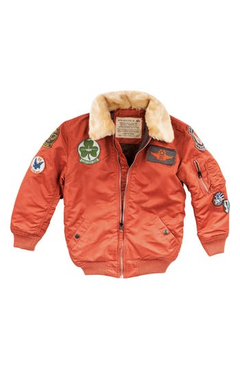 Boy's Alpha Industries Maverick Water Resistant Bomber Jacket, Size S (8) - Brown