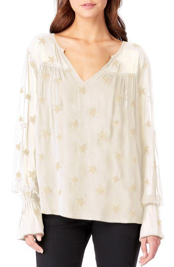 Michael Stars Embroidered Bell Sleeve Top, Ivory