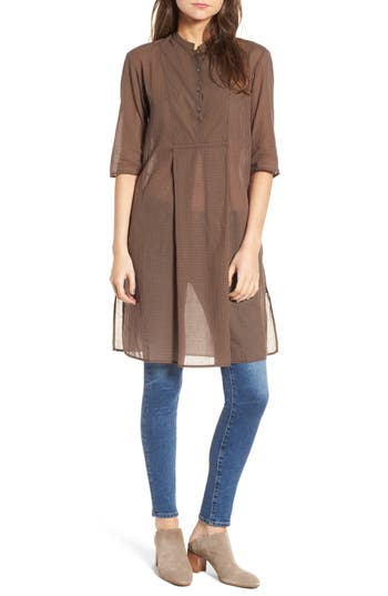 James Perse Check Cotton Tunic, Brown