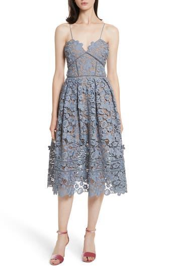 Self-Portrait Azaelea 3D Lace Fit & Flare Dress, Grey