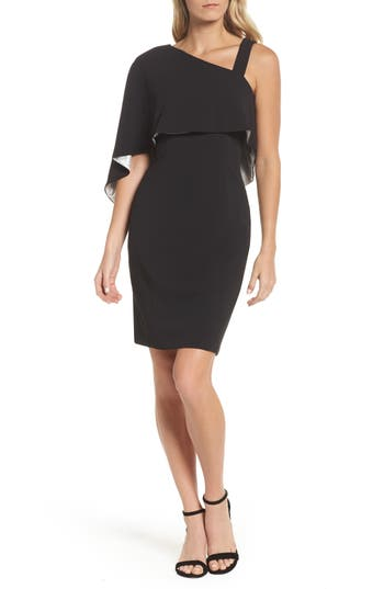 Adrianna Papell Crepe One-Shoulder Cape Dress, Black