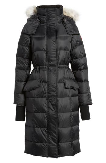 Canada Goose Lunenberg Hooded Down Parka With Genuine Coyote Fur Trim, (14-16) - Black