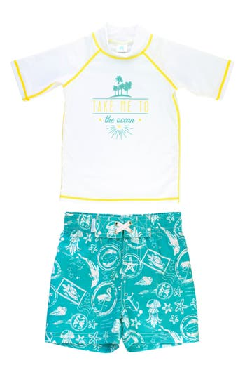 Infant Boys Ruggedbutts Take Me To The Ocean TwoPiece Rashguard Swimsuit Size 612M  White