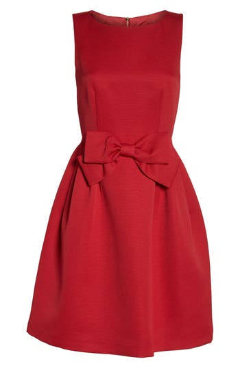 Petite Tahari Bow Front A-Line Dress, Red